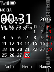 Скриншот темы Black Calendar