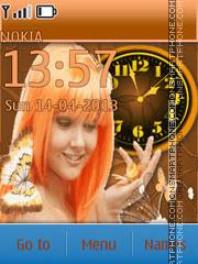 Redhead and butterflies theme screenshot