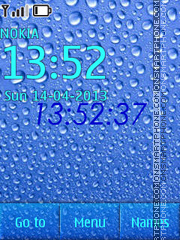 Water Drops Clock 2 theme screenshot
