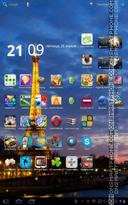 Eiffel Tower Night theme screenshot