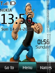 Скриншот темы Popeye the Sailor Man Digital Clock