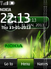 Nokia Grass Dual Clock theme screenshot