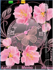 Pink Flowers and Clock theme screenshot