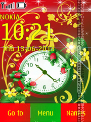 Strawberry Festival Clock tema screenshot