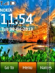 Sunset Digital Clock 04 es el tema de pantalla