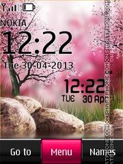 Spring Garden Digital Clock tema screenshot
