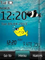 Fish Digital Clock 01 es el tema de pantalla