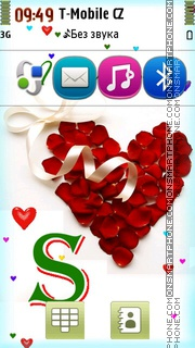 Letter S With Heart theme screenshot