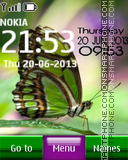 Green butterfly digital clock es el tema de pantalla