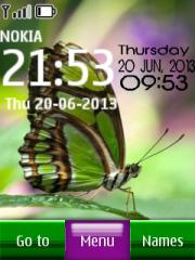 Green butterfly digital clock theme screenshot