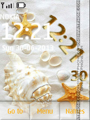Seashells on the sand theme screenshot
