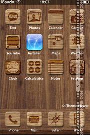 Скриншот темы Wood Iphone