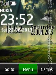 Скриншот темы Fog Landscape Live Clock