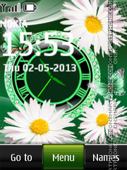Daisies and Green Clock theme screenshot