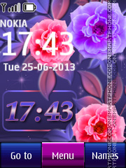 Flower Digital Clock 01 theme screenshot