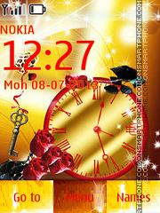 Roses and Golden Clock theme screenshot