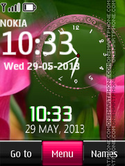 Pink Flowers Dual Clock theme screenshot