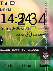 Unlock Grass Nature Clock tema screenshot