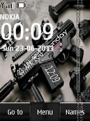 Assault rifle digital clock theme screenshot