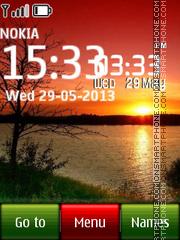 Sunset Lake Digital Clock theme screenshot