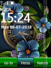Blue Flower Dual Clock 01 theme screenshot