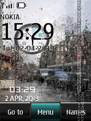 Rain Dual Clock theme screenshot