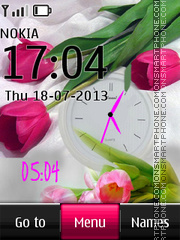Tender Tulips Dual Clock theme screenshot