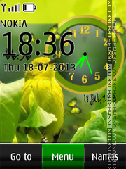 Green Bird Dual Clock theme screenshot