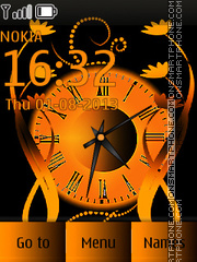 Abstract Orange Clock theme screenshot