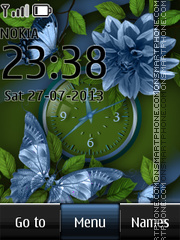 Green Dual Clock and Butterfly theme screenshot