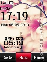 Fucsia Flower Digital Clock theme screenshot