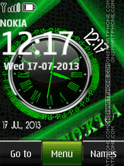 Green Nokia Dual Clock tema screenshot