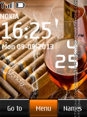 Cognac and Cigars Digital Clock es el tema de pantalla