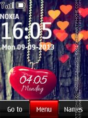 Pendant Heart Digital Clock theme screenshot