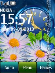 Скриншот темы Blue Flower Dual Clock 02