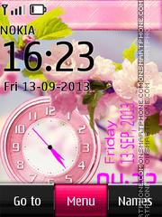 Pink flower dual clock theme screenshot