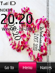 Pink Hearts Digital Clock theme screenshot