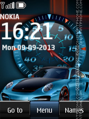 Blue Porsche Dual Clock theme screenshot