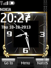 Nokia Gold Dual Clock tema screenshot