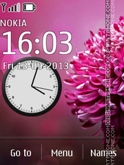 Pinkish Flower Clock theme screenshot