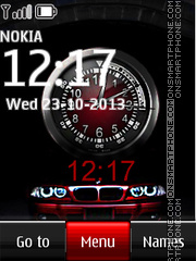 Red BMW Dual Clock theme screenshot