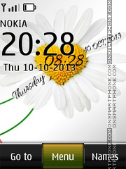 White Flower Digital Clock theme screenshot