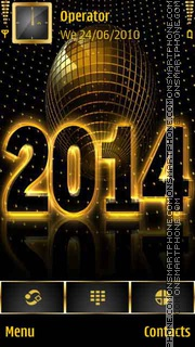 Golden Happy New Year 2014 theme screenshot