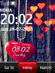 Heart Digital Clock 03 theme screenshot
