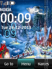 Winter Postcard Digital Clock theme screenshot