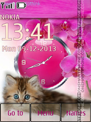 Kitten in orchids theme screenshot