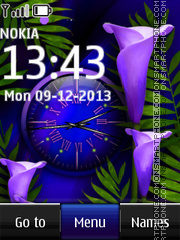 Blue flower dual clock 03 theme screenshot