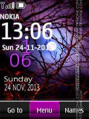 Purple moon digital clock theme screenshot