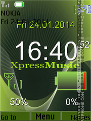 Green Xpress Music Clock theme screenshot