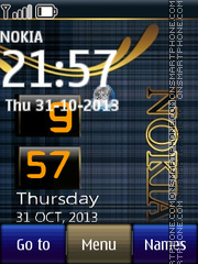 Nokia Blue Live Clock theme screenshot